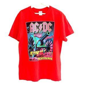 AC/DC Screen printed shirt / liquid blue